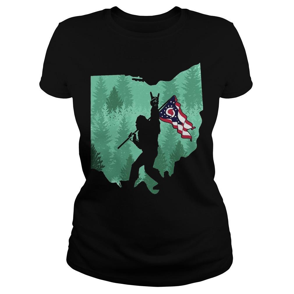 Bigfoot Rock And Roll Ohio Flag In The Forest Longsleeve