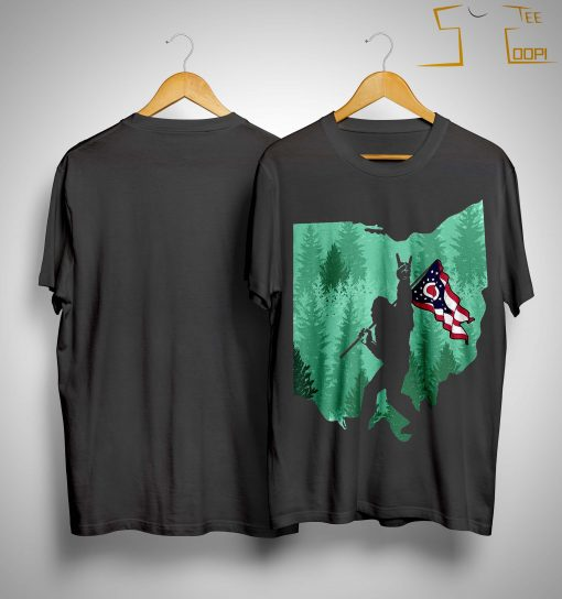 Bigfoot Rock And Roll Ohio Flag In The Forest Shirt