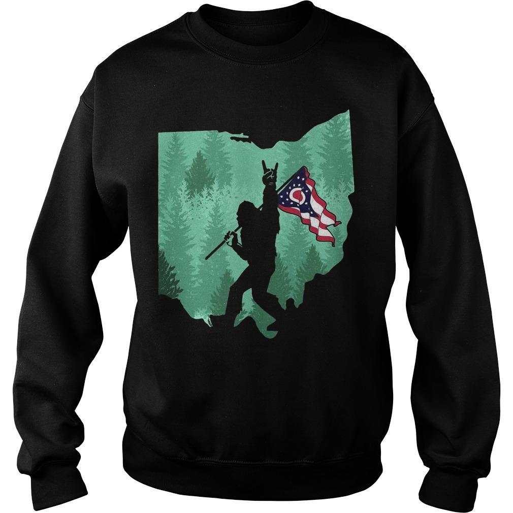 Bigfoot Rock And Roll Ohio Flag In The Forest Sweater