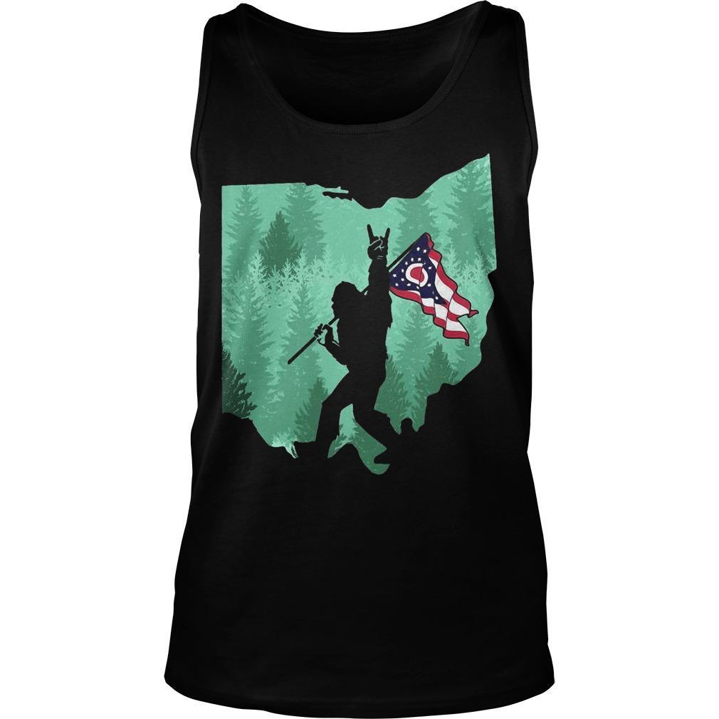 Bigfoot Rock And Roll Ohio Flag In The Forest Tank Top