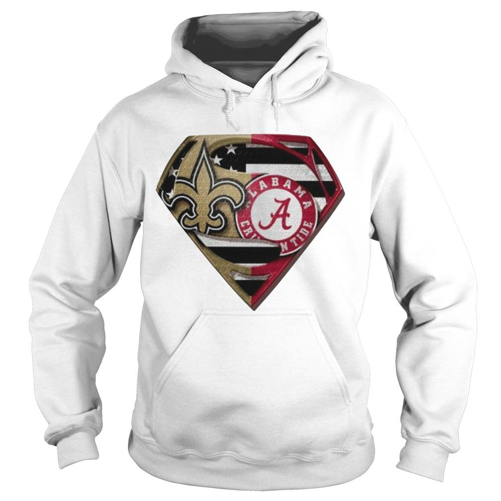 Heart Superman Saint New Orleans And Alabama Crimson Tide Hoodie