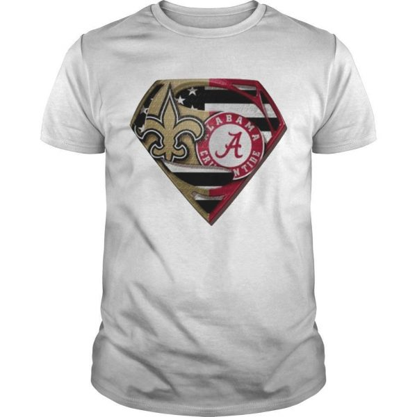 Heart Superman Saint New Orleans And Alabama Crimson Tide Shirt