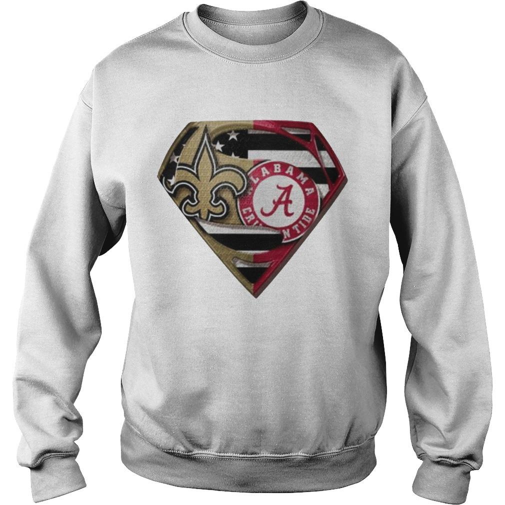 Heart Superman Saint New Orleans And Alabama Crimson Tide Sweater