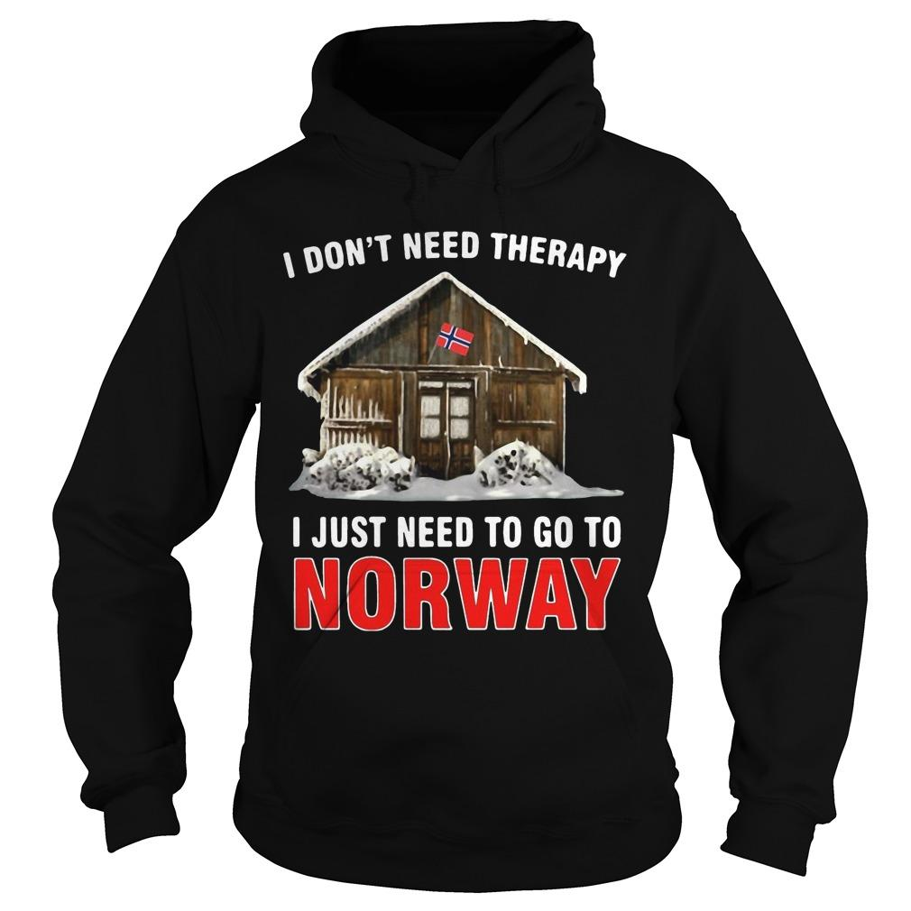I Don't Need Therapy I Just Need To Go To Norway Hoodie
