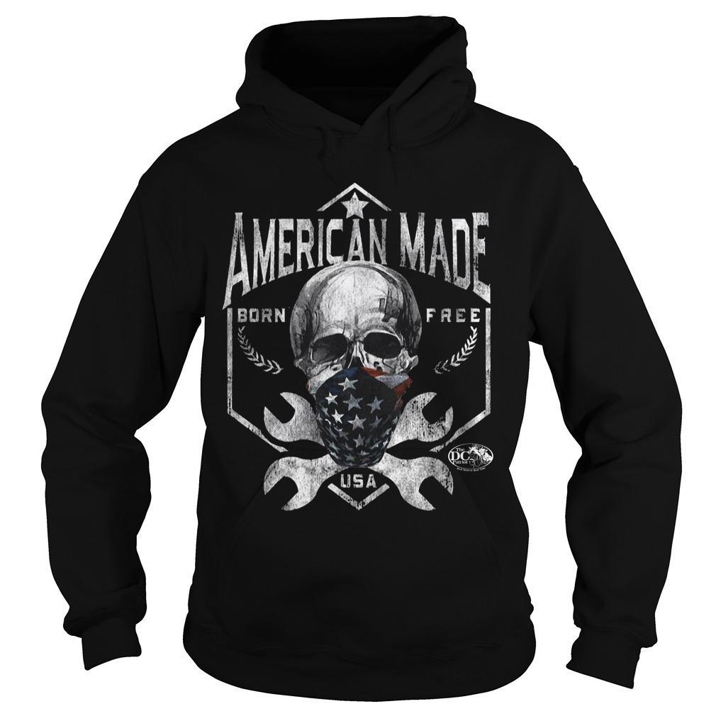Skull American Made Born Free Usa Hoodie