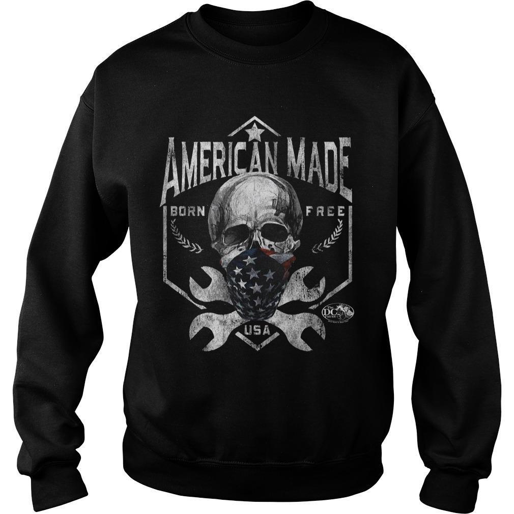 Skull American Made Born Free Usa Sweater