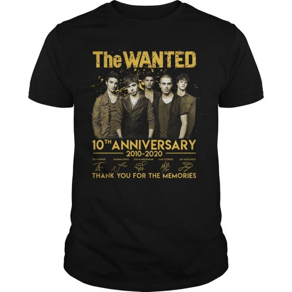 The Wanted 10th Anniversary 2010 2020 Thank You For The Memories Signatures Shirt