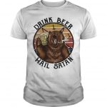 Vintage Bear Drink Beer Hail Satan Shirt