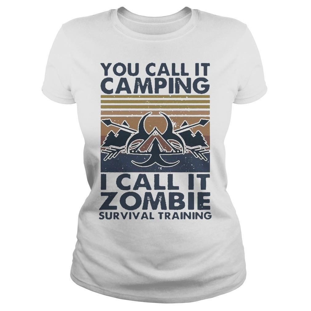 Vintage You Call It Camping I Call It Zombie Survival Training Longsleeve
