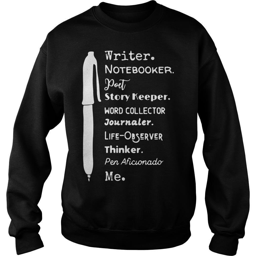 Writer Notebooker Poet Story Keeper Word Collector Journaler Sweater
