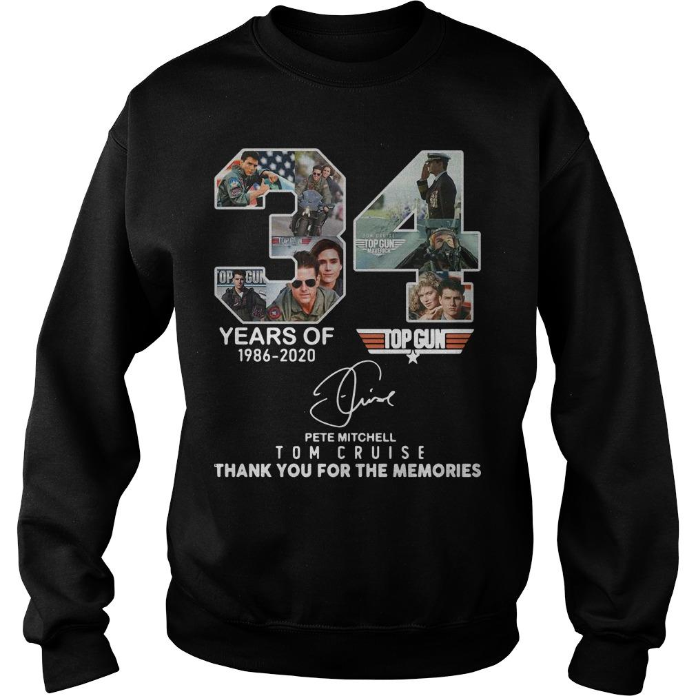 34 Years Of Pete Mitchell Tom Cruise 1986 2020 Thank You For The Memories Sweater