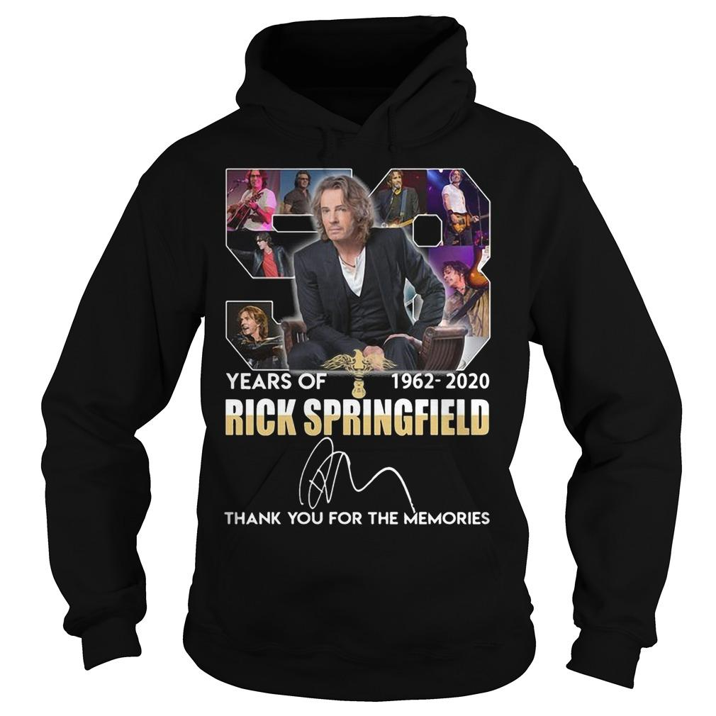 58 Years Of Rick Springfield Thank You For The Memories Hoodie