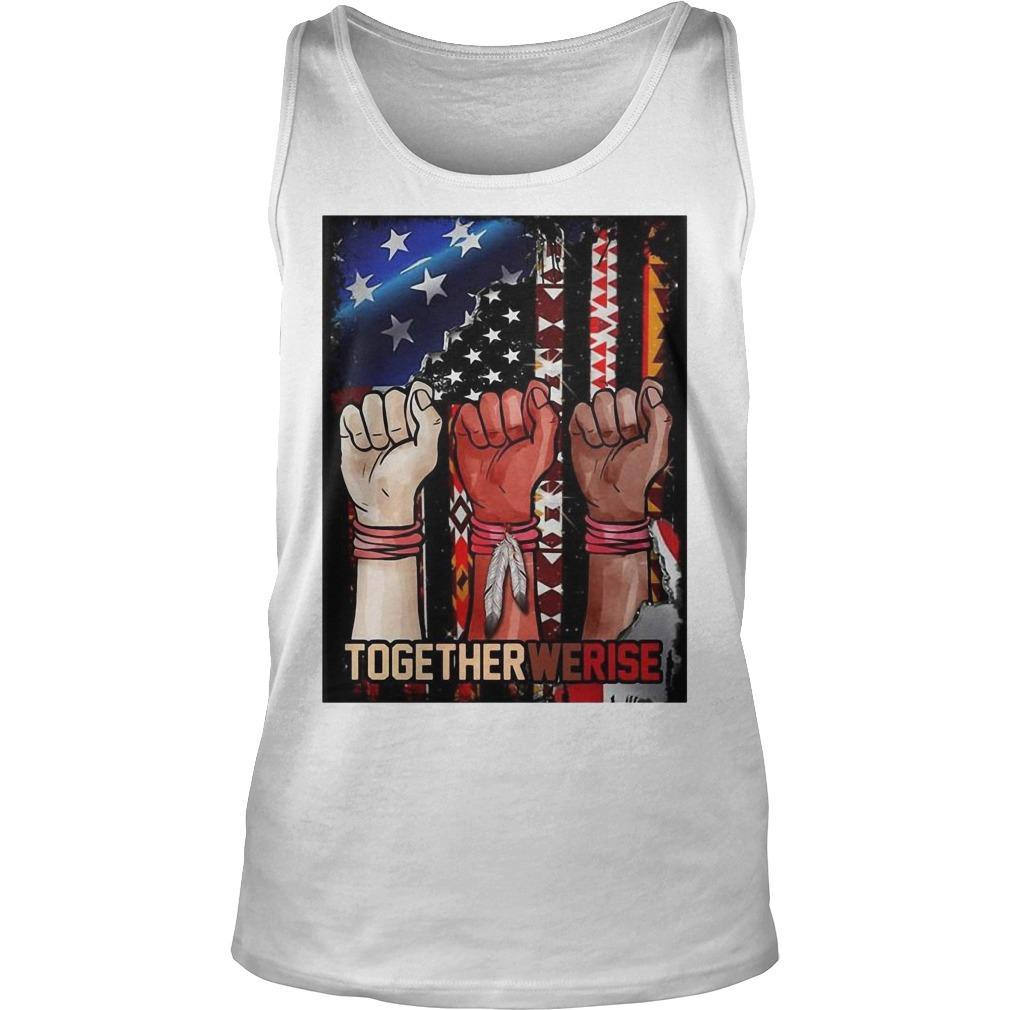 American Flag Black Live Matter Strong Hand Together We Rise Tank Top