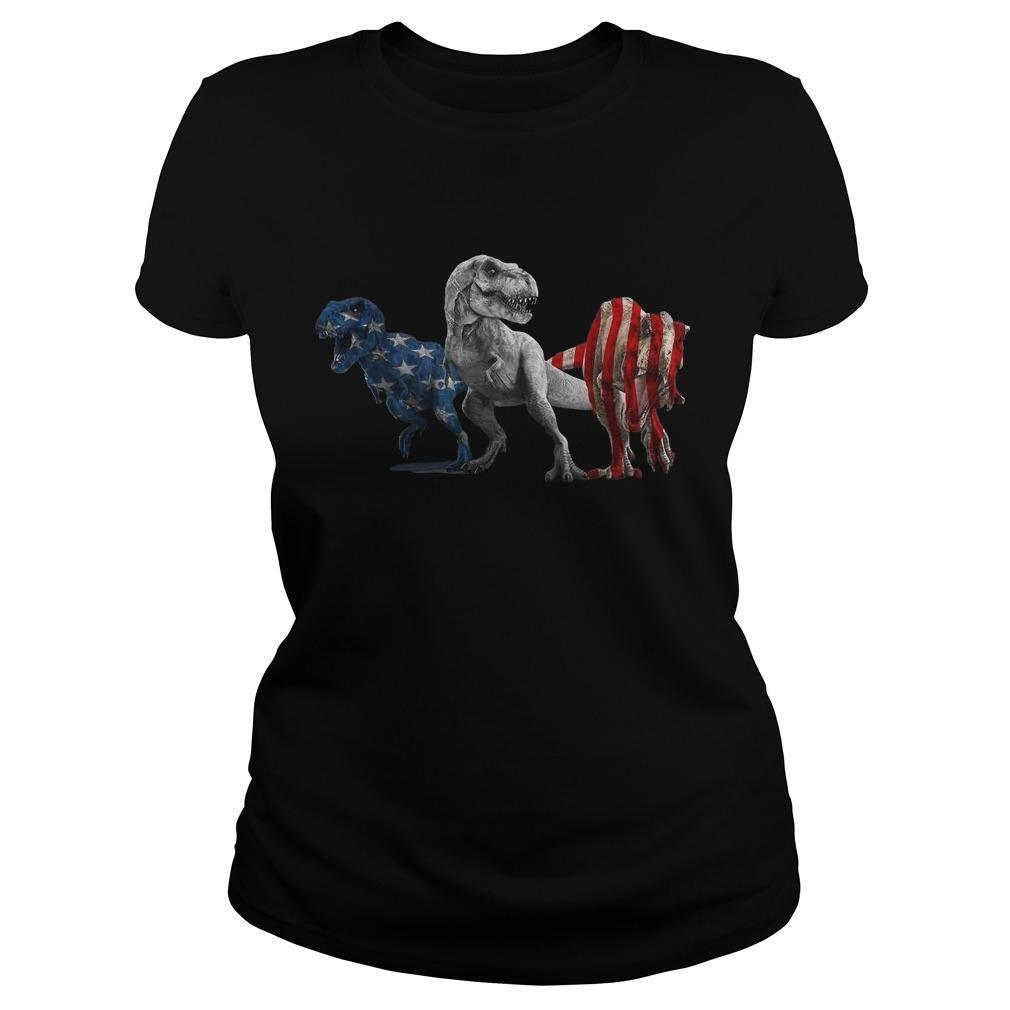 American Flag Independence Day Dinosaurs Longsleeve