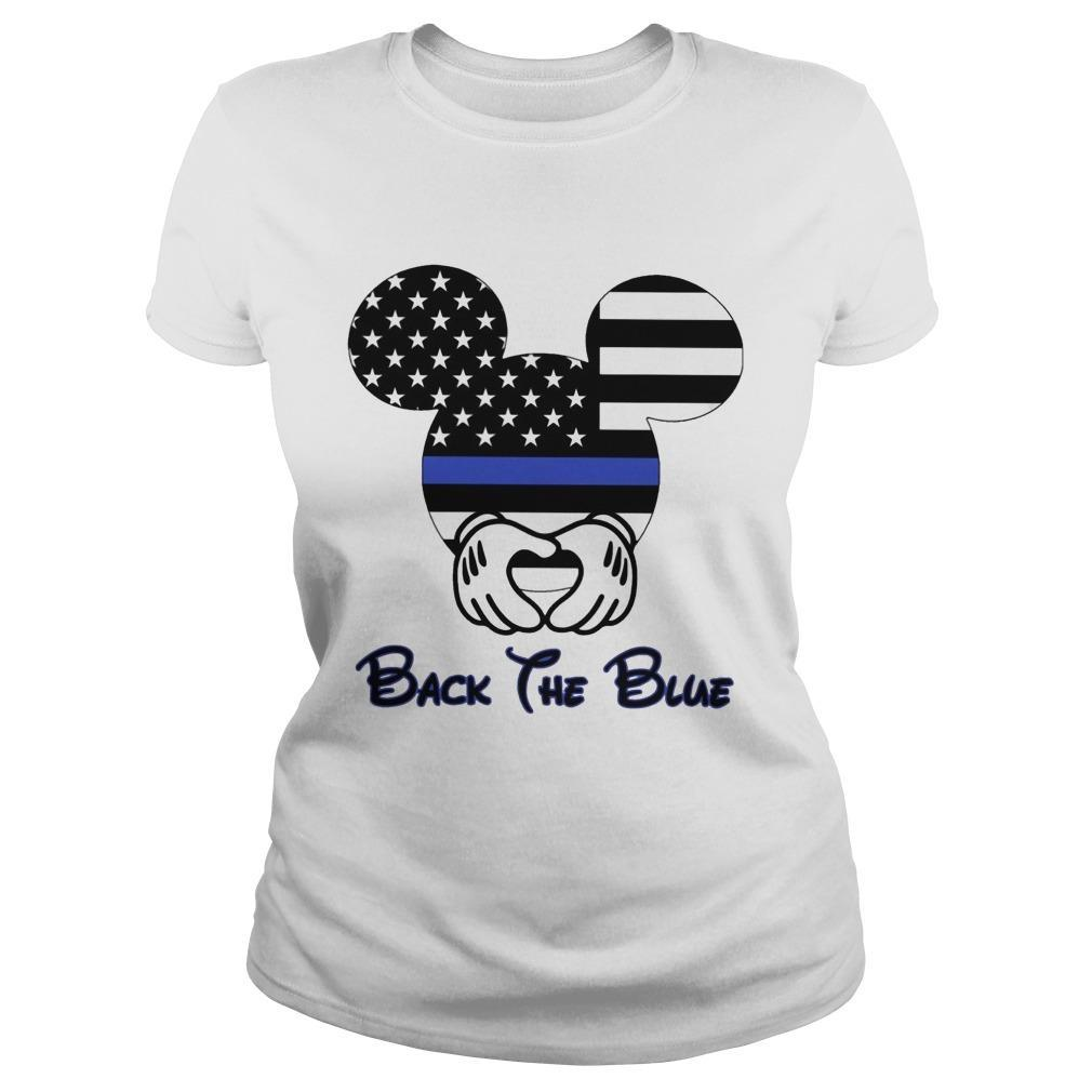 American Flag Mickey Mouse Back The Blue Longsleeve