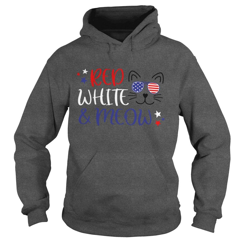 American Flag Red White And Meow Hoodie