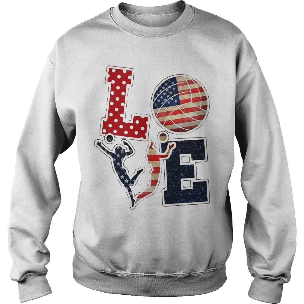American Flag Volleyball Love Sweater