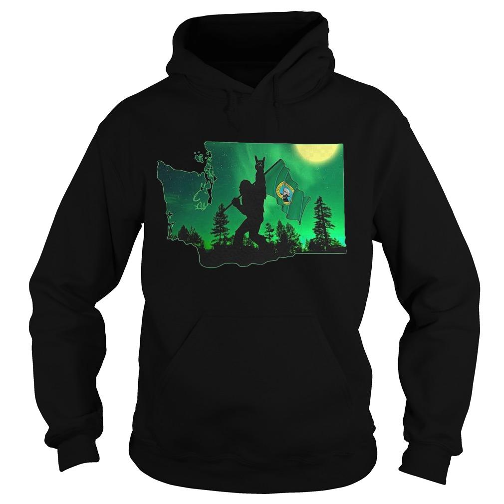 Bigfoot And Washington Flag Hoodie