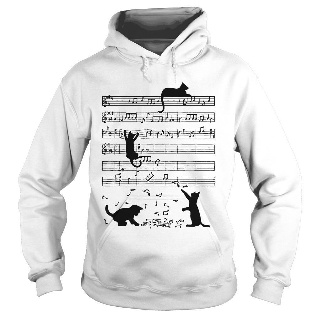 Black Cat Playing On Piano Sheet Hoodie