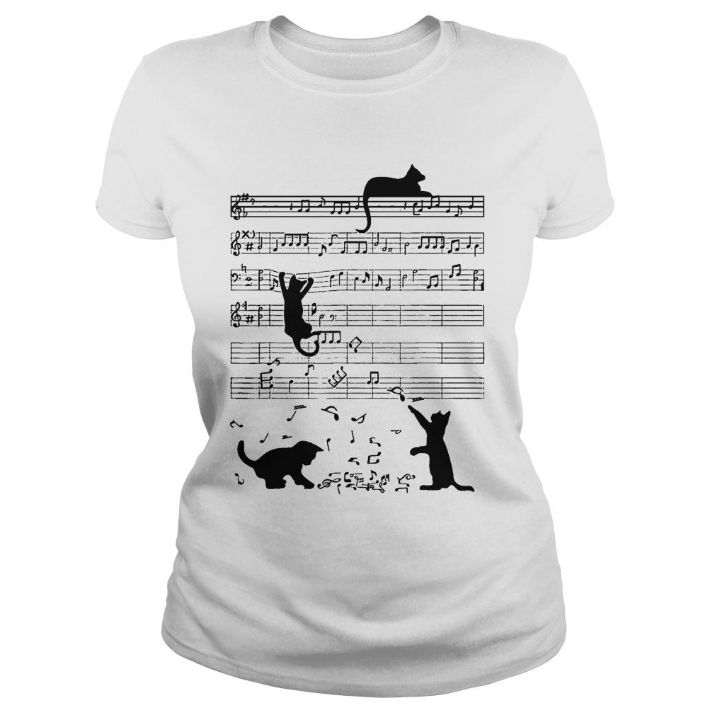 Black Cat Playing On Piano Sheet Longsleeve