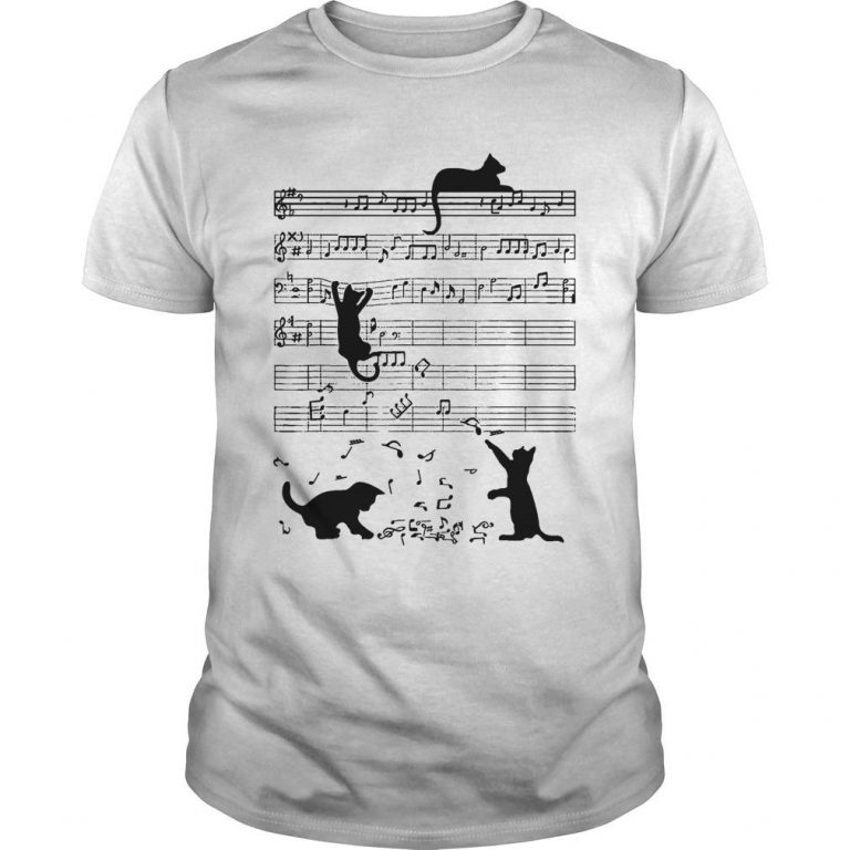 Black Cat Playing On Piano Sheet Shirt