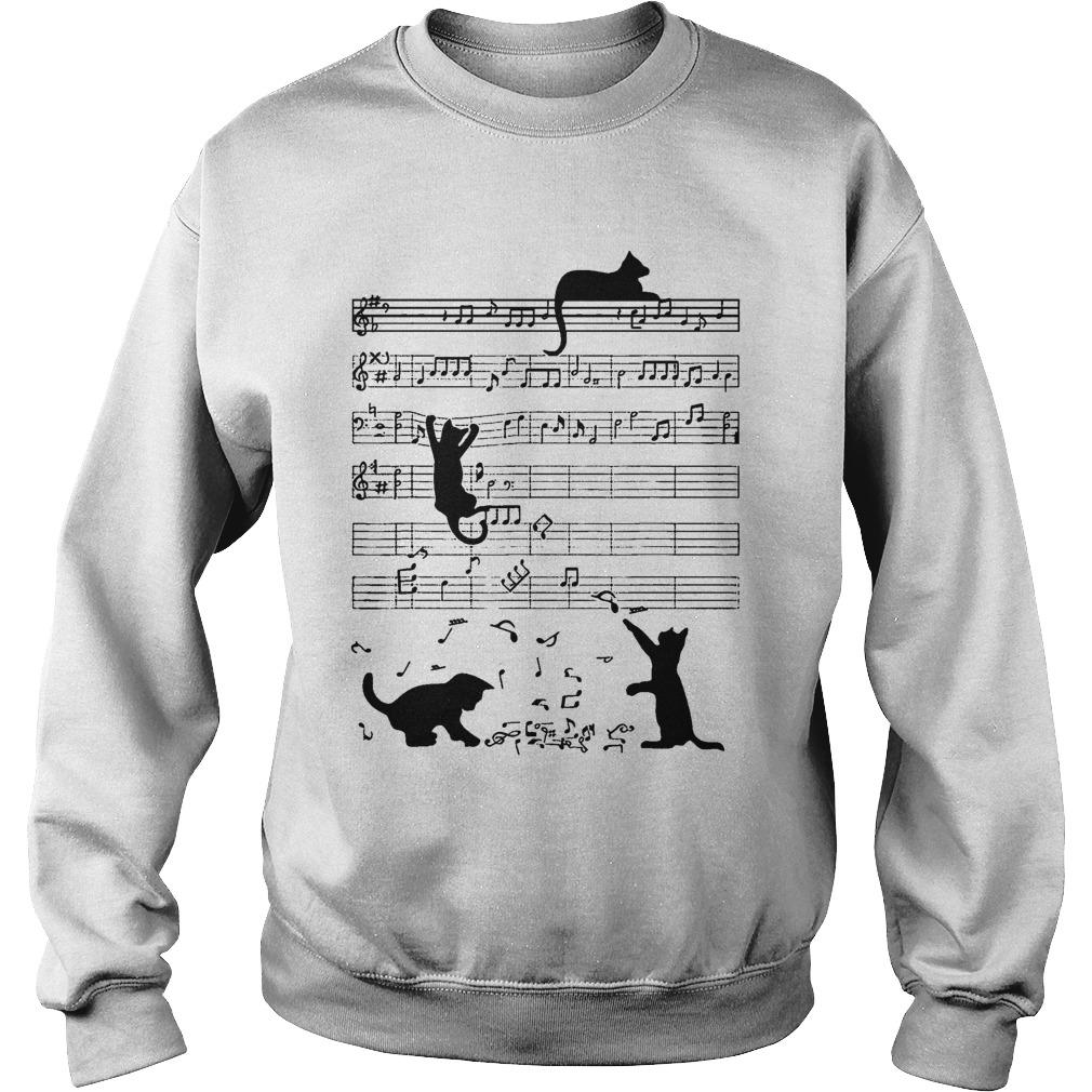 Black Cat Playing On Piano Sheet Sweater