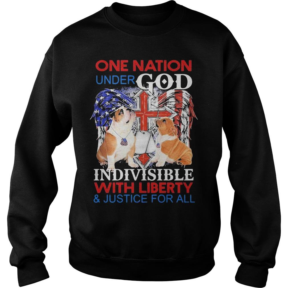 Bulldog One Nation Under God Indivisible With Liberty And Justice For All Sweater