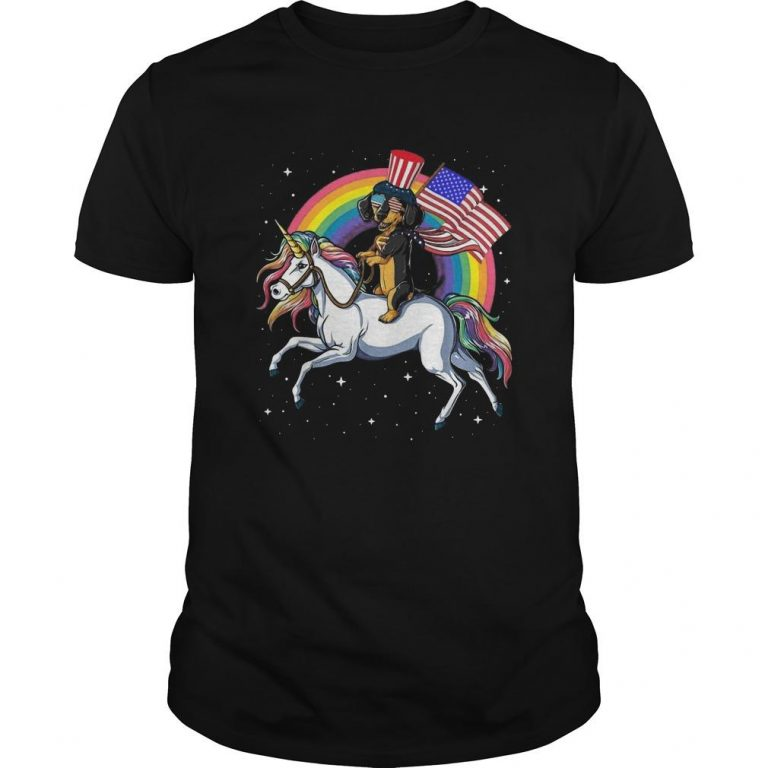 Dachshund Riding Unicorn Happy Independence Day Shirt