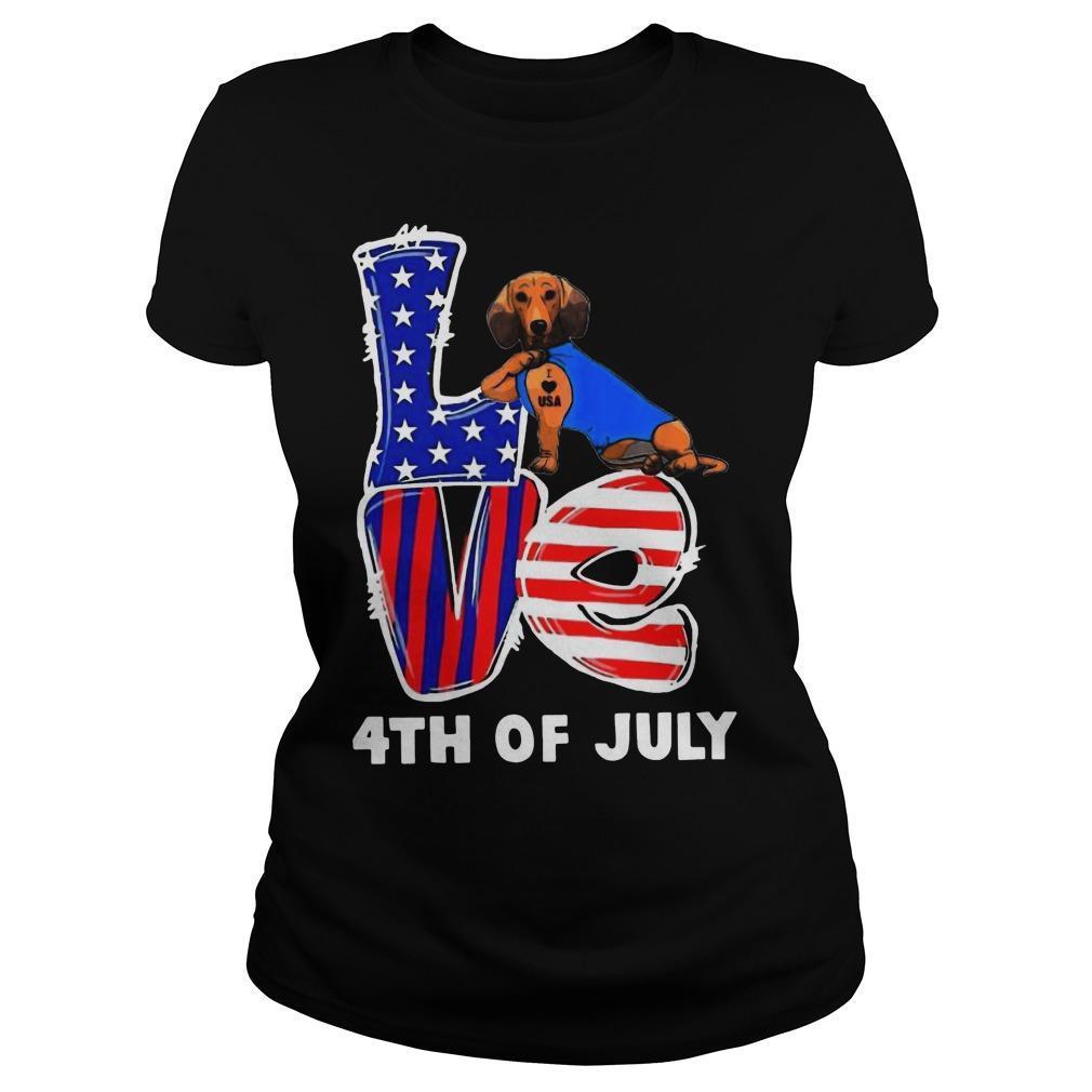 Dachshund Tattoo I Love Usa 4th Of July Longsleeve