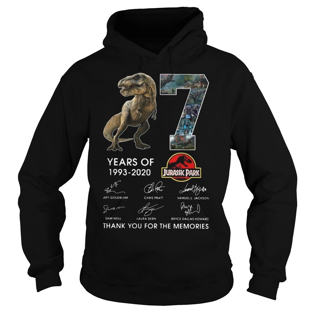 Dinosaur 27 Years Of Jurassic Park Thank You For The Memories Hoodie