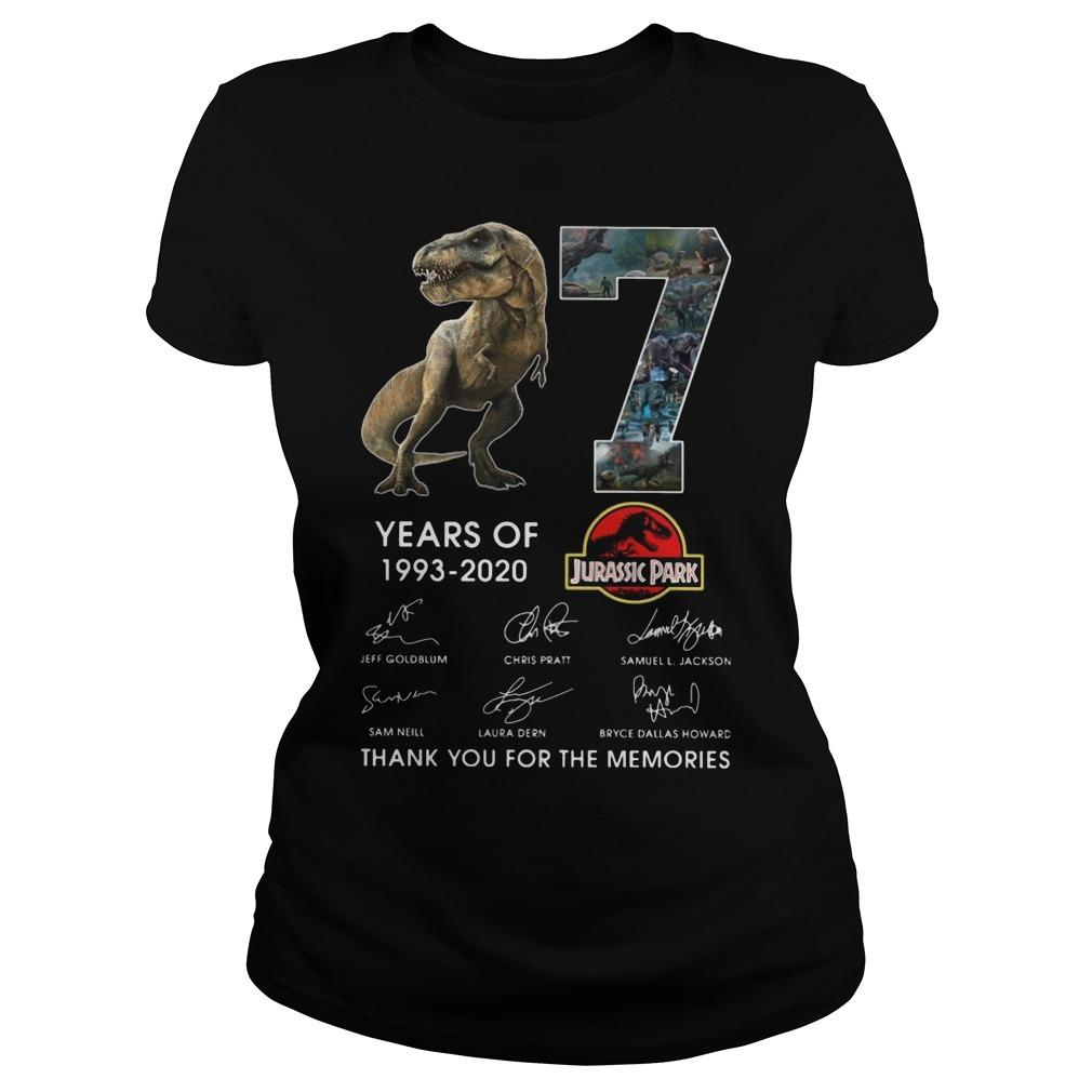 Dinosaur 27 Years Of Jurassic Park Thank You For The Memories Longsleeve