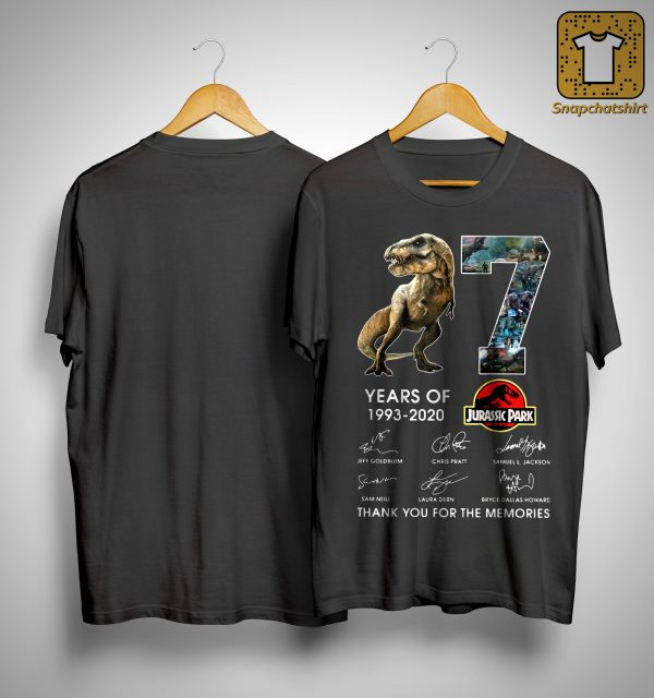 Dinosaur 27 Years Of Jurassic Park Thank You For The Memories Shirt