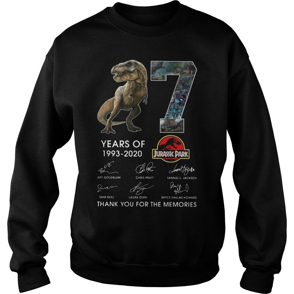 Dinosaur 27 Years Of Jurassic Park Thank You For The Memories Sweater