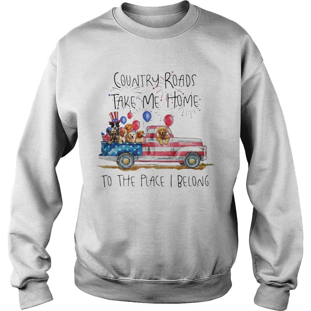 Dog Trucker Country Roads Take Me Home To The Place I Belong Sweater