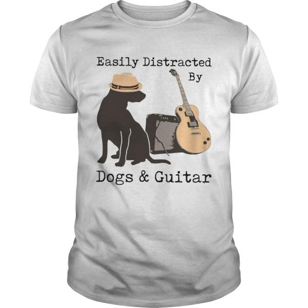 Easily Distracted By Dogs And Guitar Shirt