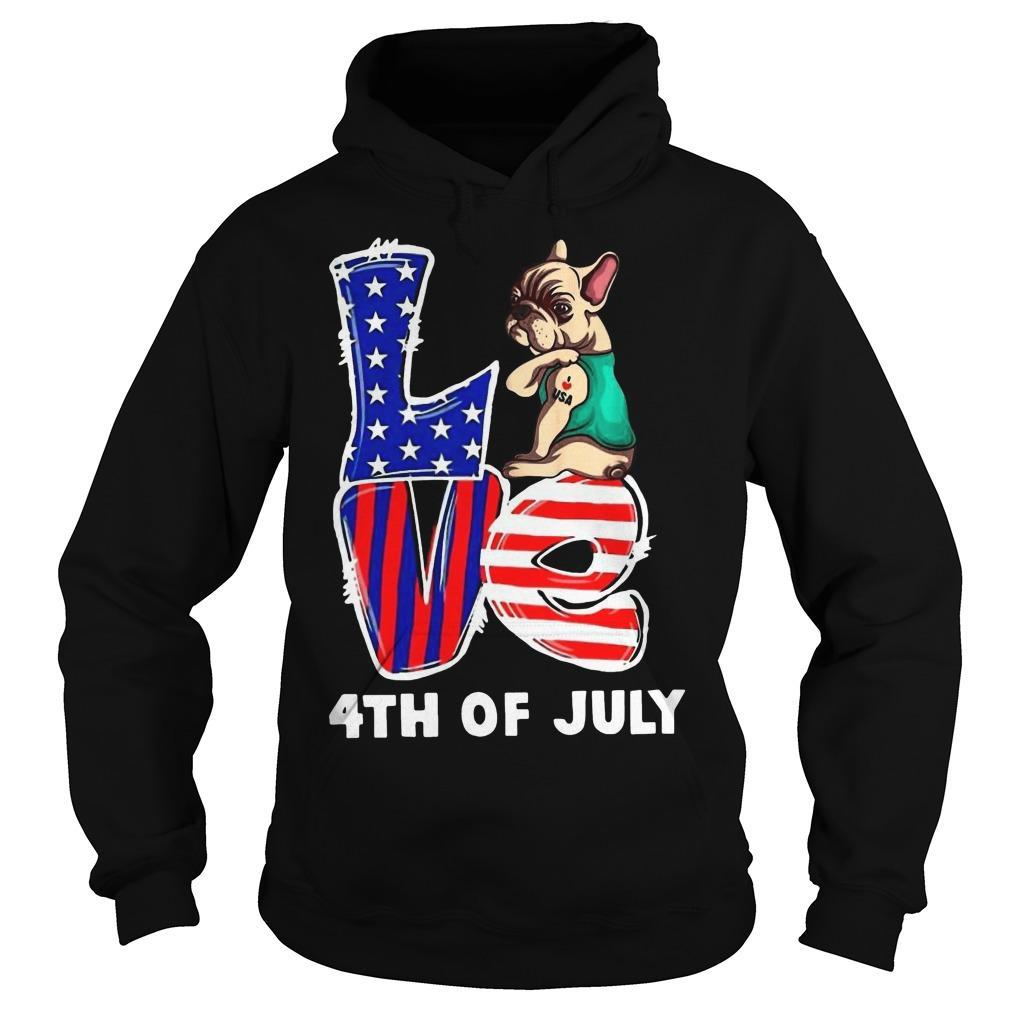 French Bulldog Tattoo I Love Usa 4th Of July Hoodie