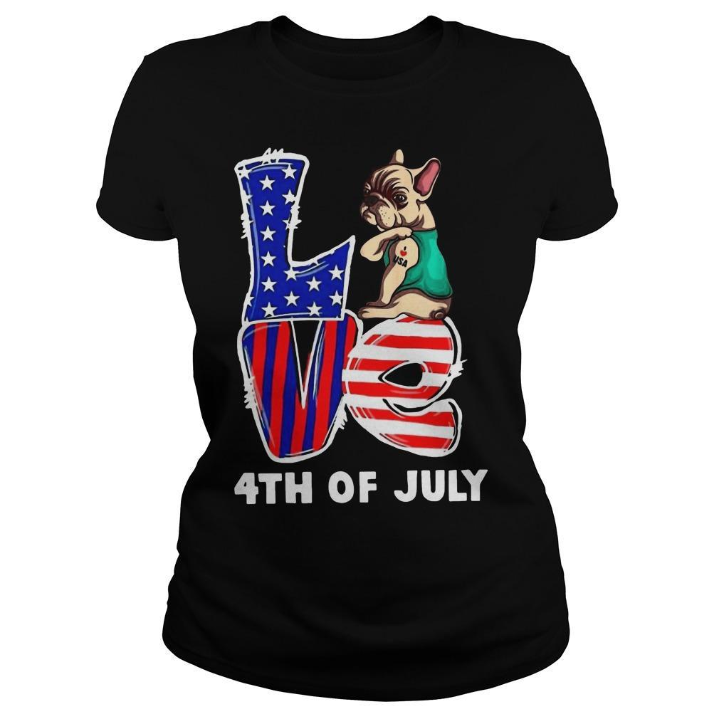 French Bulldog Tattoo I Love Usa 4th Of July Longsleeve