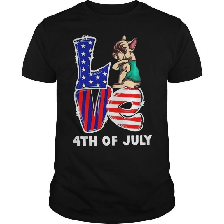 French Bulldog Tattoo I Love Usa 4th Of July Shirt