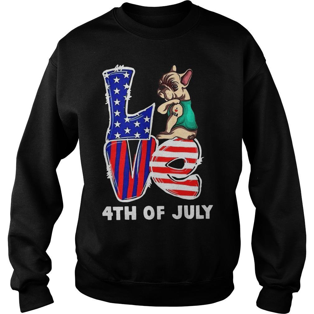 French Bulldog Tattoo I Love Usa 4th Of July Sweater