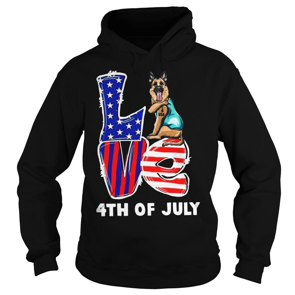 German Shepherd Tattoo I Love Usa 4th Of July Hoodie