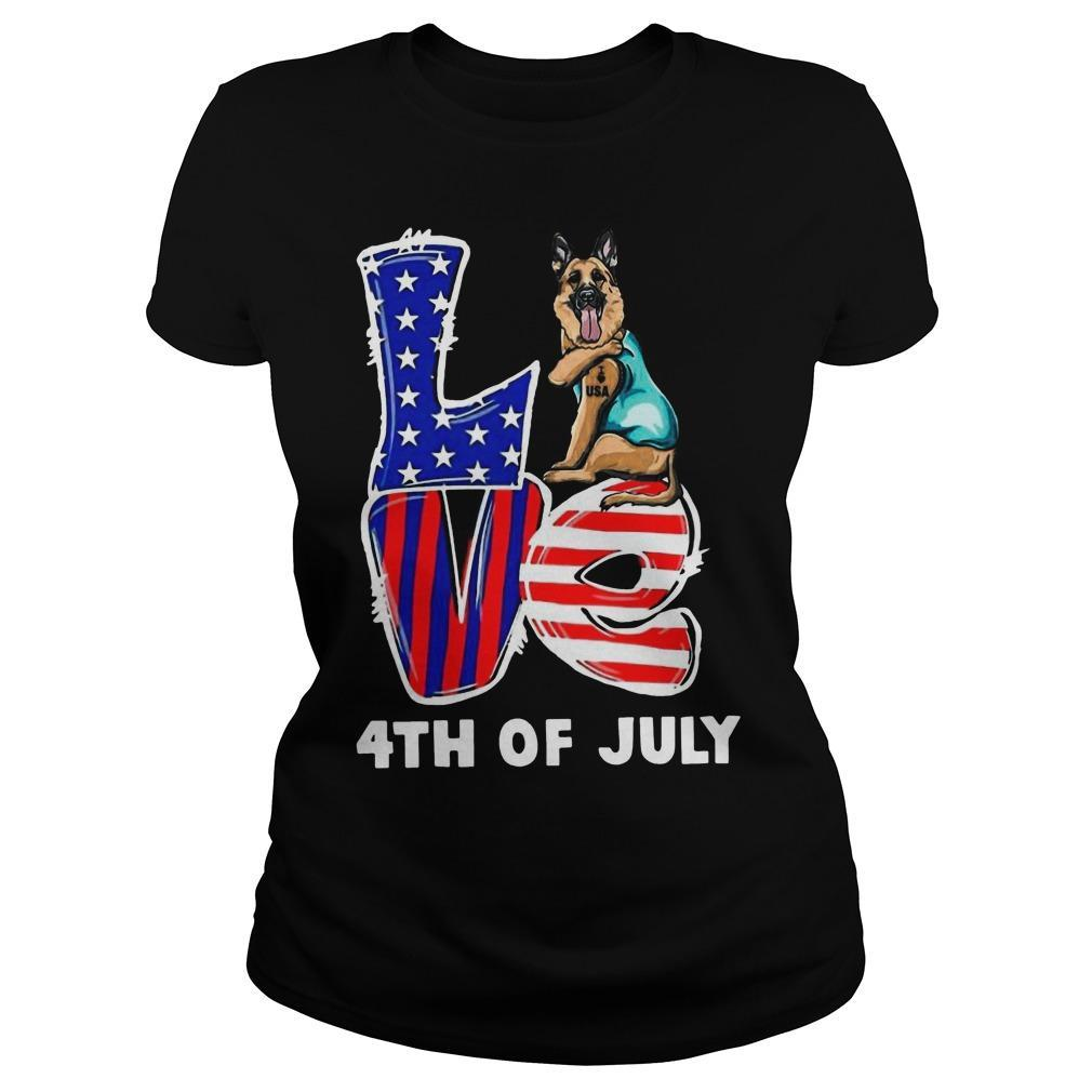 German Shepherd Tattoo I Love Usa 4th Of July Longsleeve
