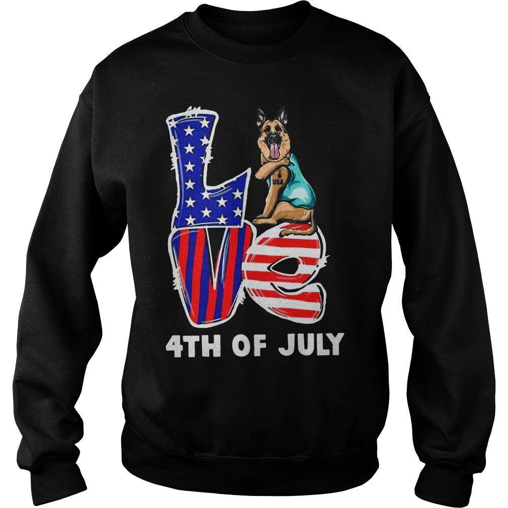German Shepherd Tattoo I Love Usa 4th Of July Sweater