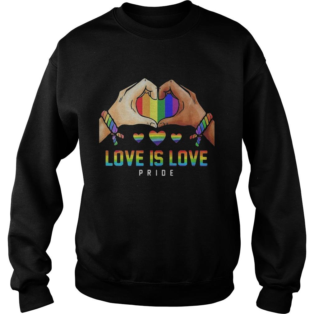 Hand Heart Lgbt Love Is Love Pride Sweater