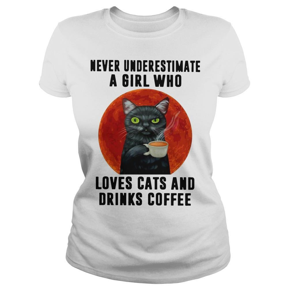 Moon Never Underestimate A Girl Who Loves Cats And Drinks Coffee Longsleeve