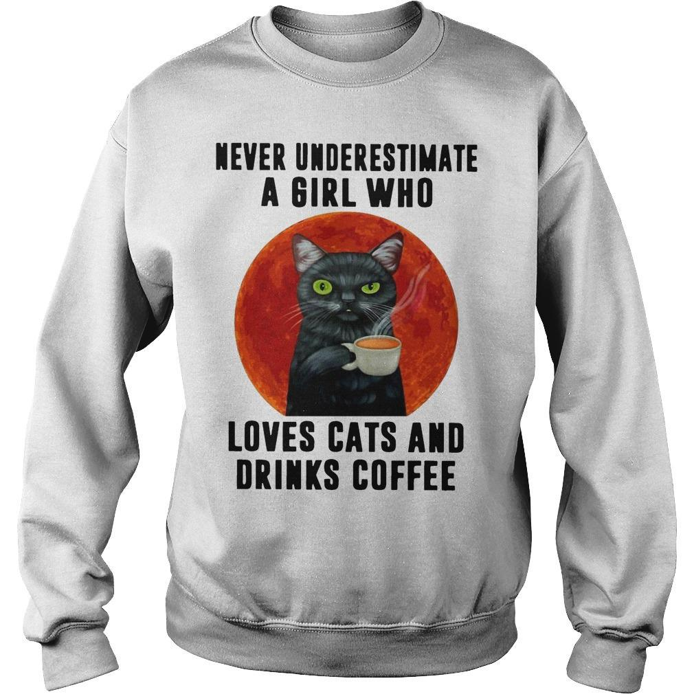 Moon Never Underestimate A Girl Who Loves Cats And Drinks Coffee Sweater