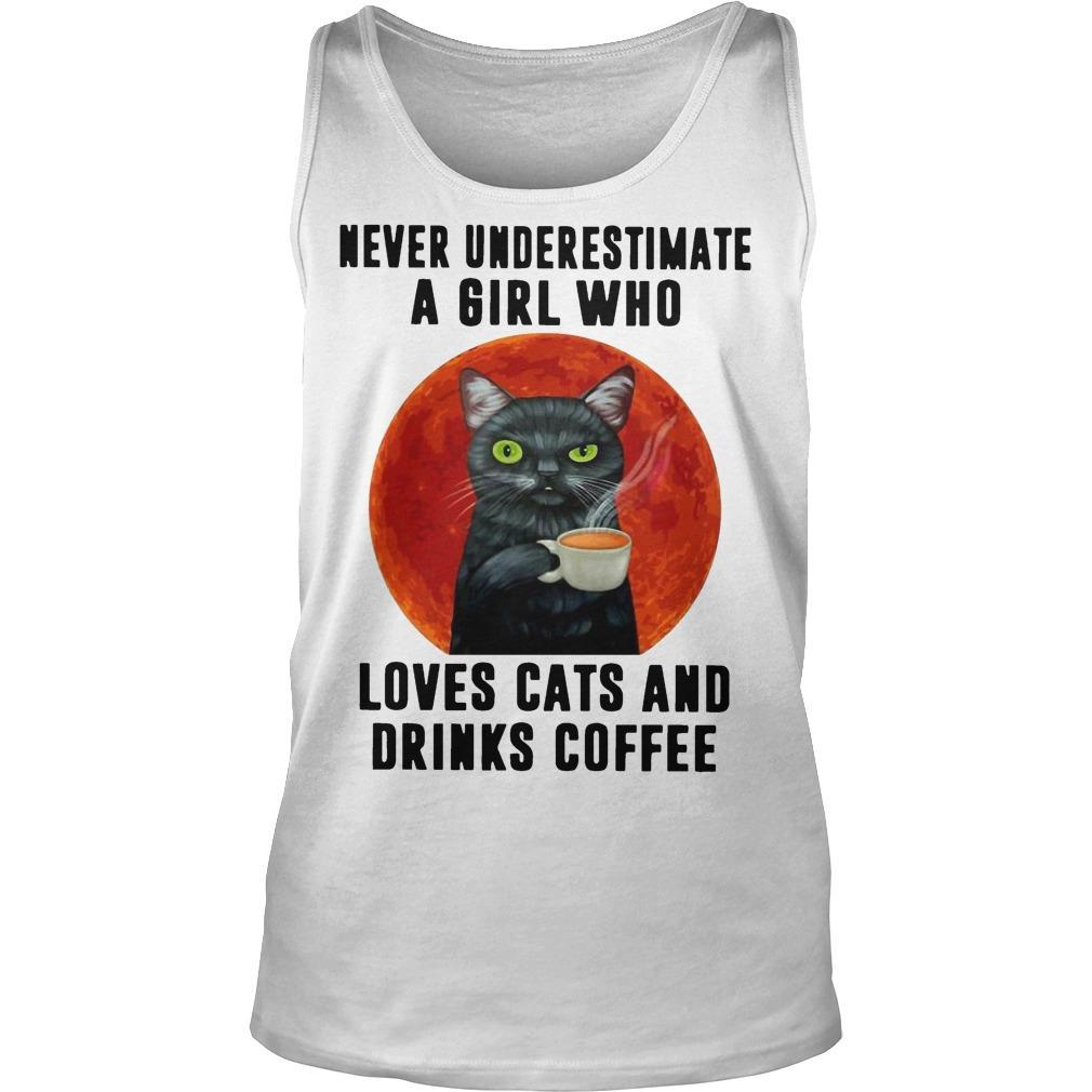 Moon Never Underestimate A Girl Who Loves Cats And Drinks Coffee Tank Top