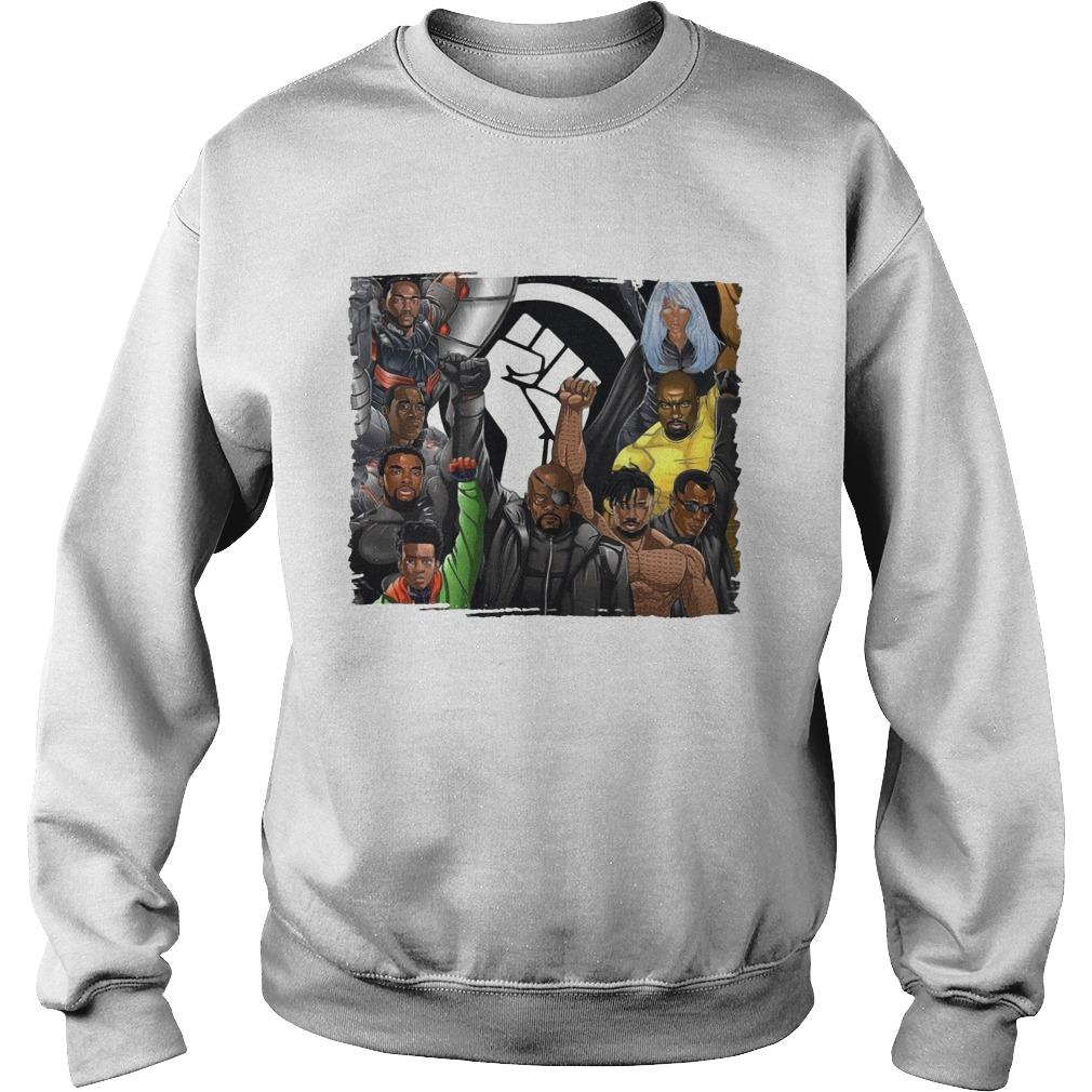 Nick Fury Black Panther Falcon Strong Hand Sweater
