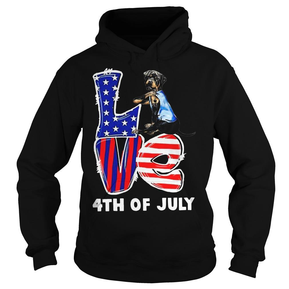 Rottweiler Tattoo I Love Usa 4th Of July Hoodie