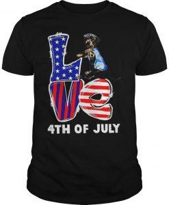 Rottweiler Tattoo I Love Usa 4th Of July Shirt