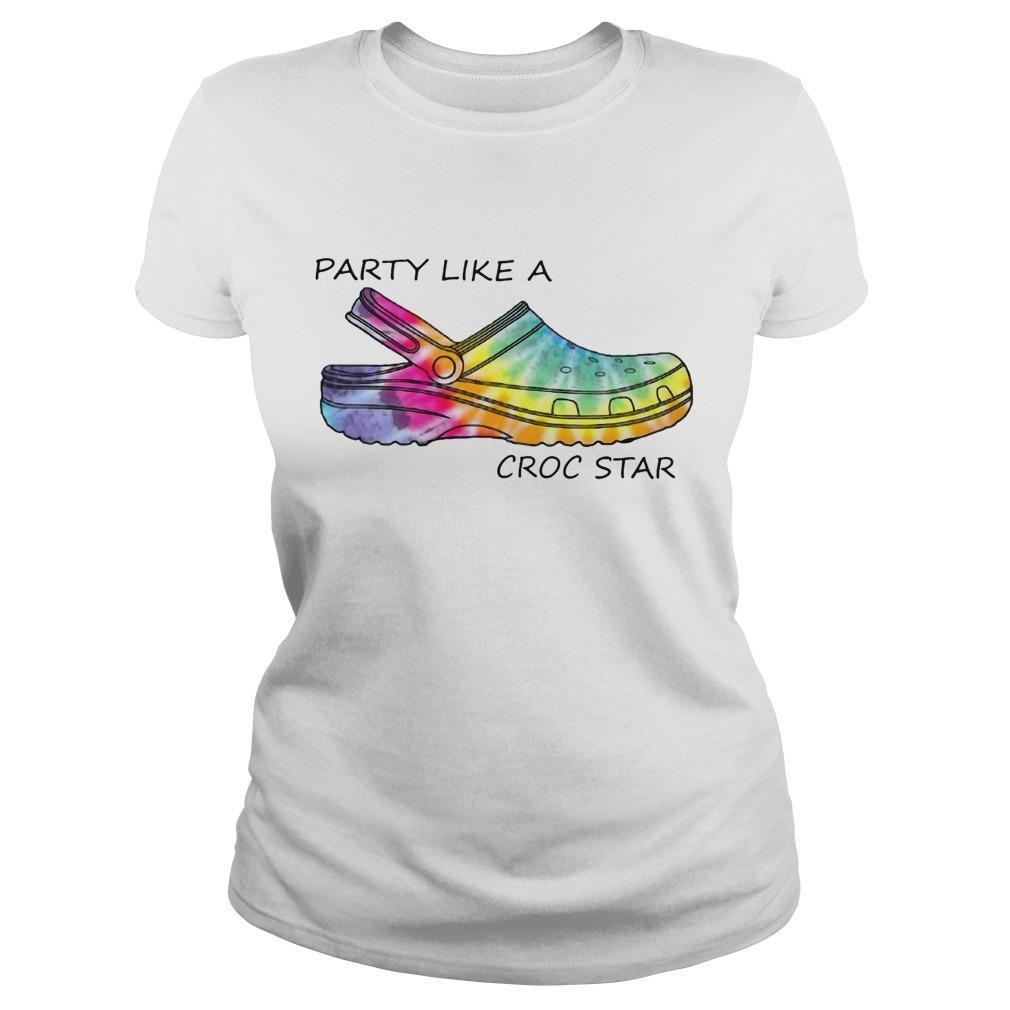 Tie Dye Party Like A Croc Star Longsleeve